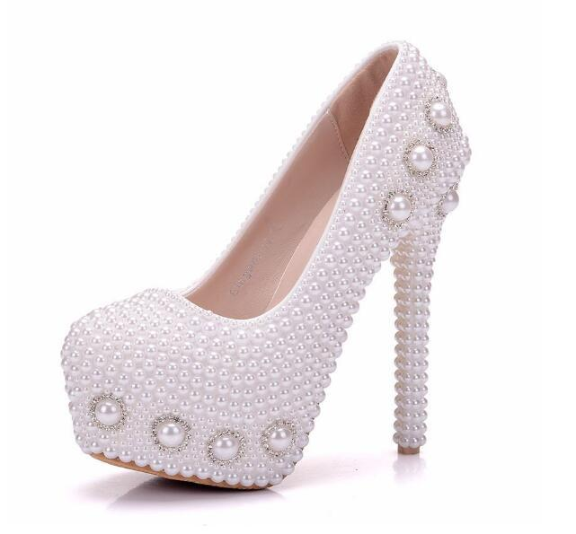 Fashion woman shoes white Pearl crystal FLOWER 14cm High-heeled shoes Fine heel Waterproof Princess Wedding shoes Large size 34-41
