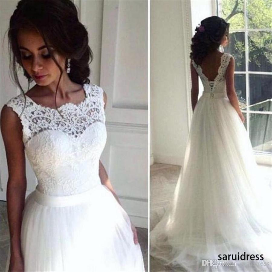 패션 세련된 A 라인 롱 웨딩 드레스 저렴한 비치 웨딩 드레스 보석 목 레이스 아플리케 민소매 얇은 명주 그물 웨딩 드레스