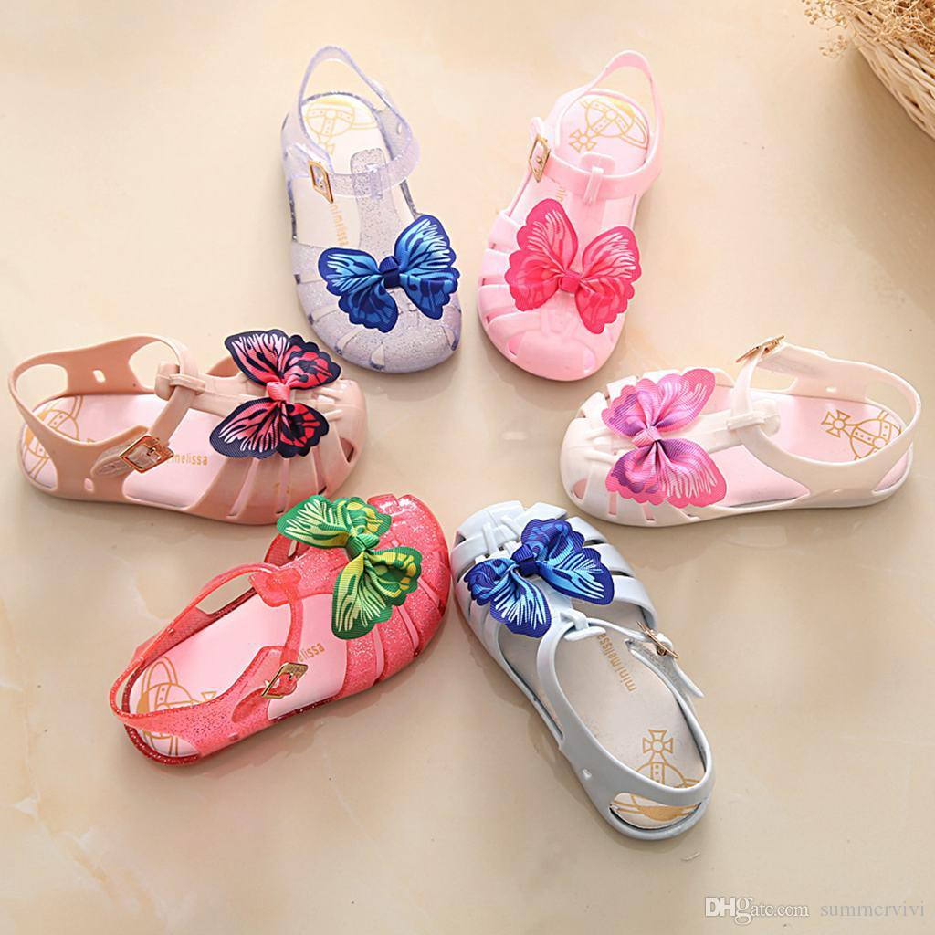 586d47045495 Girls jelly sandals children colorful butterfly princess shoes kids hollow  crystal jelly shoes children transparent beach sandals Y4026