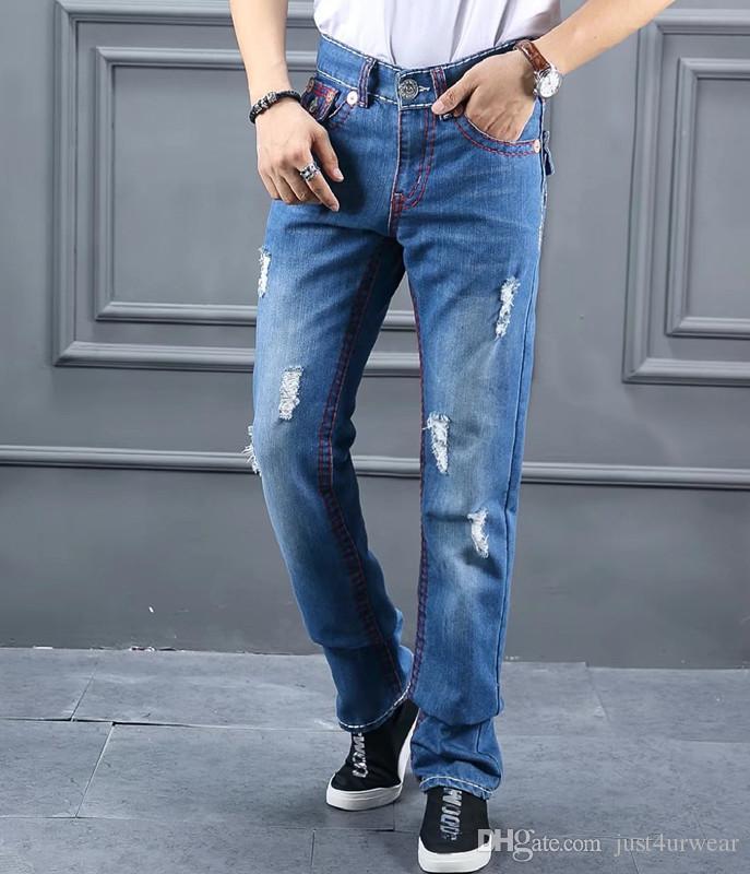 Moda Marka Erkek Jeans DOĞRU Kırmızı Hat Tasarım İnce Jeans Man Biker Sıkıntılı Uzun Kalem Pantolon Hommes Mavi Jeans Ripped