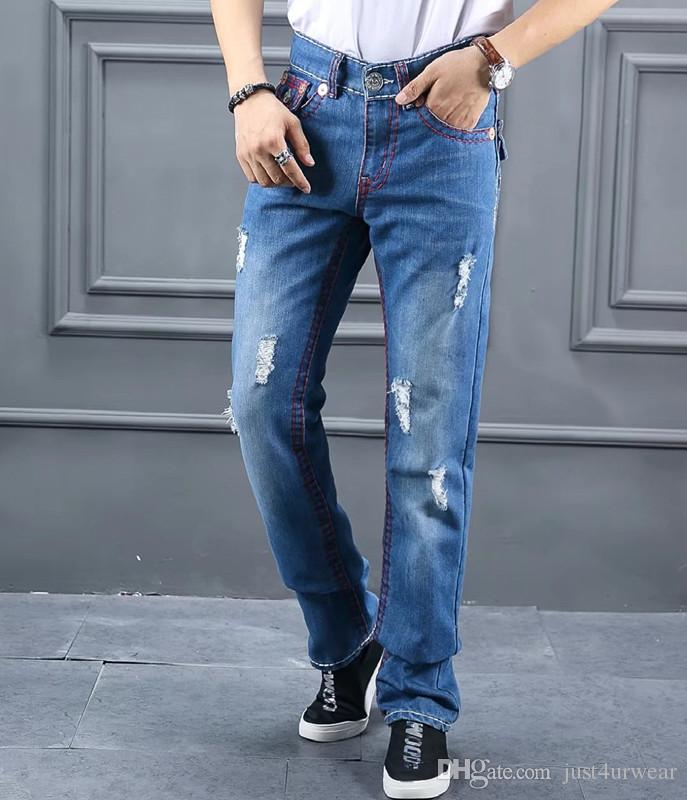 Mode Hommes Marque Jeans TRUE Ripped Red Line Slim design Jeans Homme Biker Distressed long Crayon Pantalons Hommes Blue Jeans