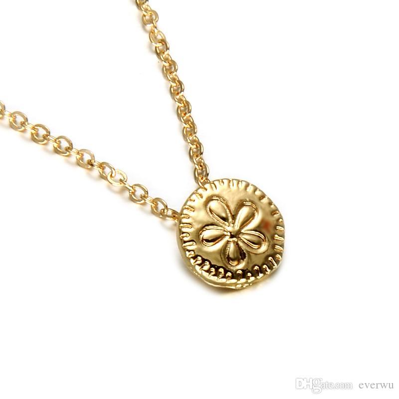 Joyería del collar del encanto de la nueva flor linda Gargantilla de oro de las mujeres mujeres chapado forme el pequeño collar lindo de la flor del encanto