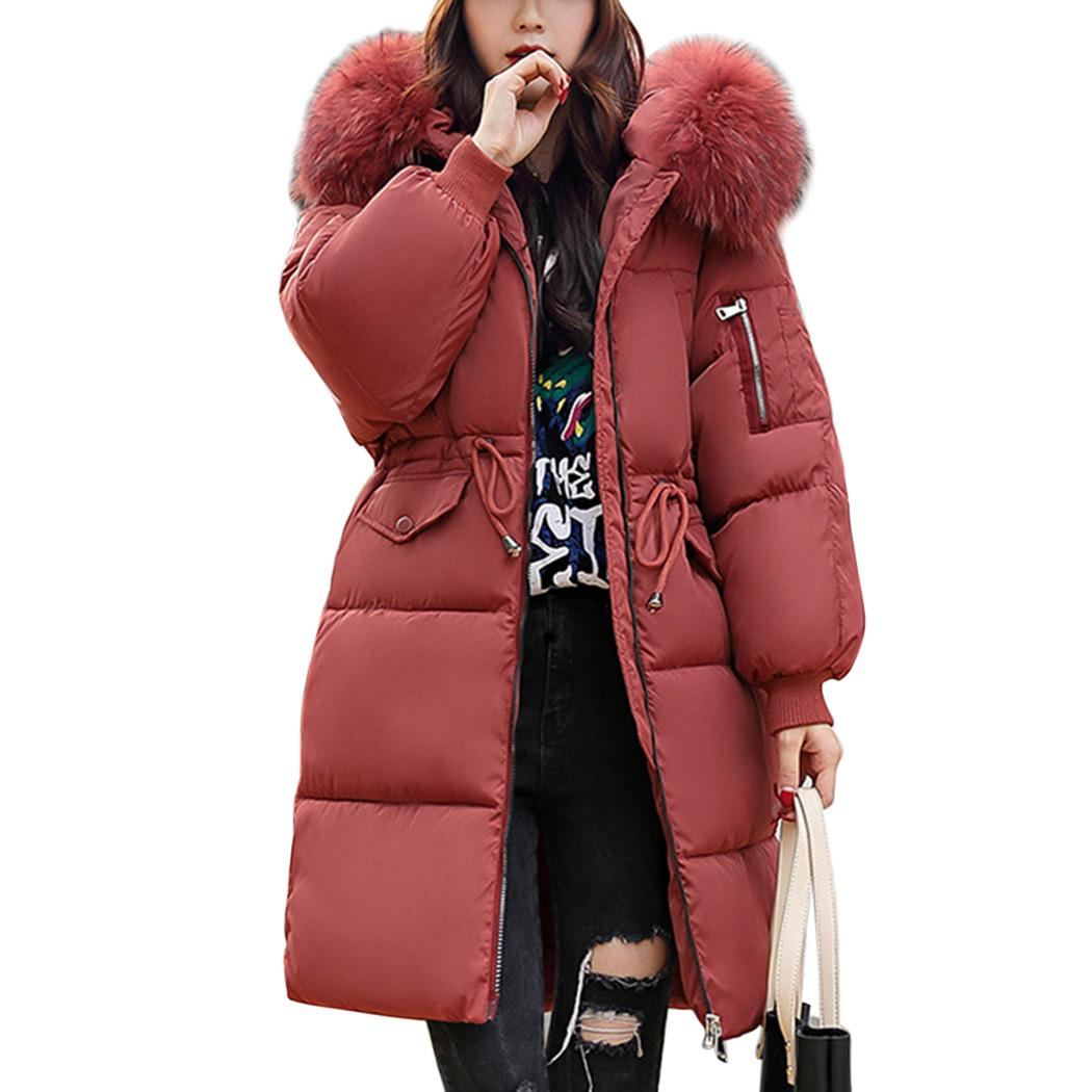 2018 Winter Women Hooded Coat Fur Collar Thicken Warm Long Parka Female Plus Size 3XL Outerwear Parka Ladies Padded Feminino