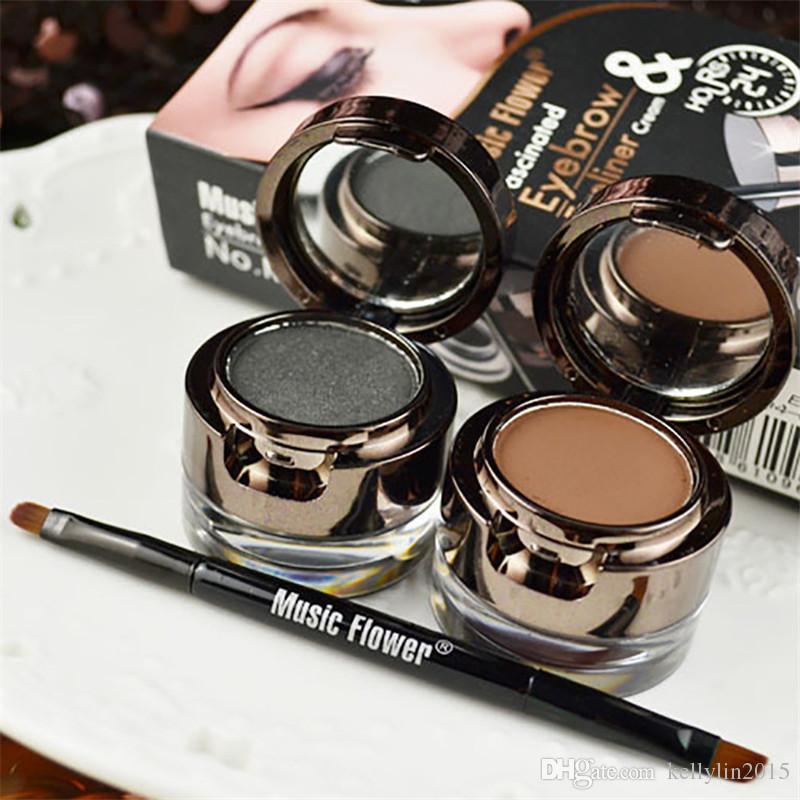 Eyeliner Eyebrow Cream Kit Music Flower Waterproof Long Lasting Eyebrows Powder Eye Liner Gel Black Brown Eyes Makeup Set with Brush