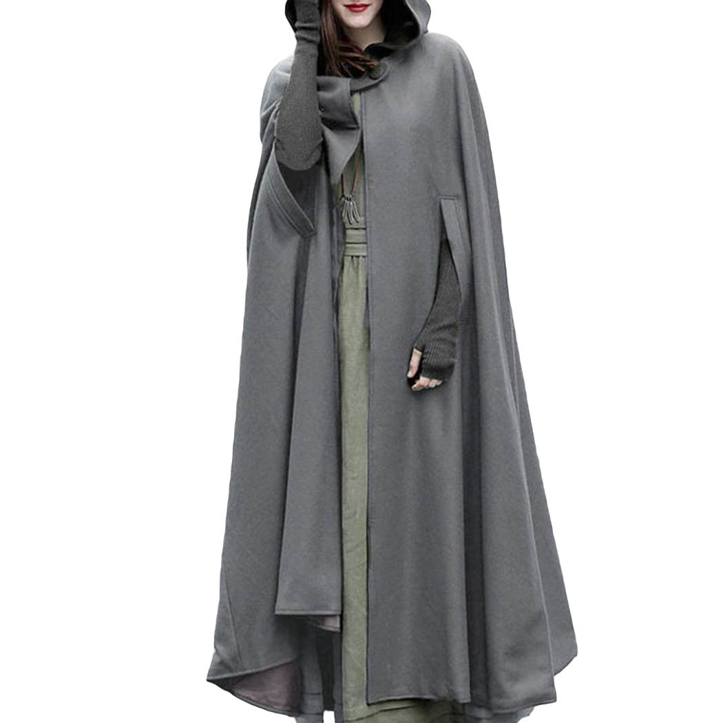 Women 2018 Autumn Winter Hooded Coat Oversize Retro Irregular Long Poncho Cape Trench Cloak Button Open Front Cardigan Overcoat