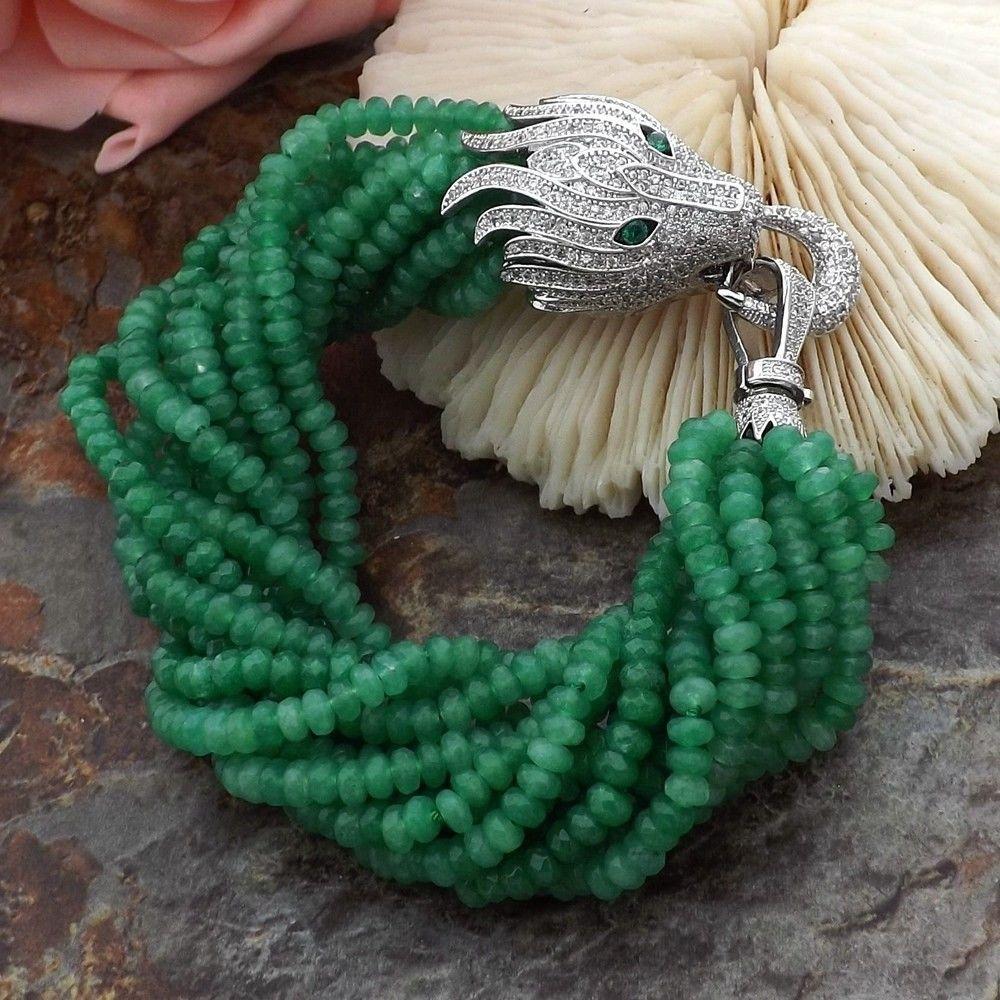 12strands naturales encanto verde Jade accesorios de circón micro incrustaciones de cabeza de dragón broche de pulsera de largo 19cm de joyería de moda