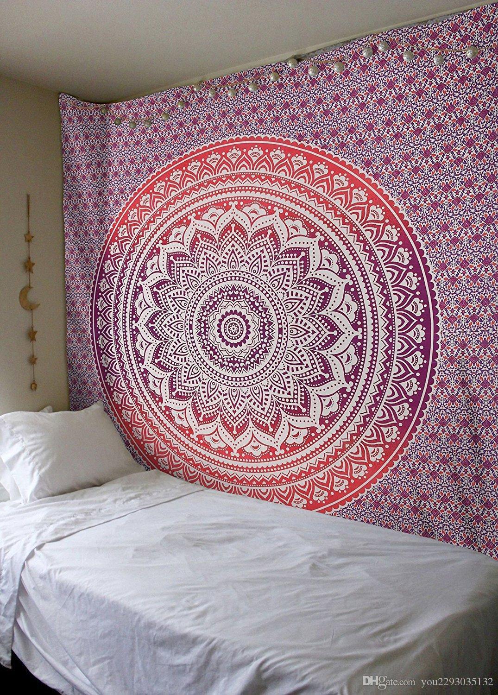 Plante Tropicale Tapisserie Tapis Mandala Bohème Hippie Tenture Murale Maison