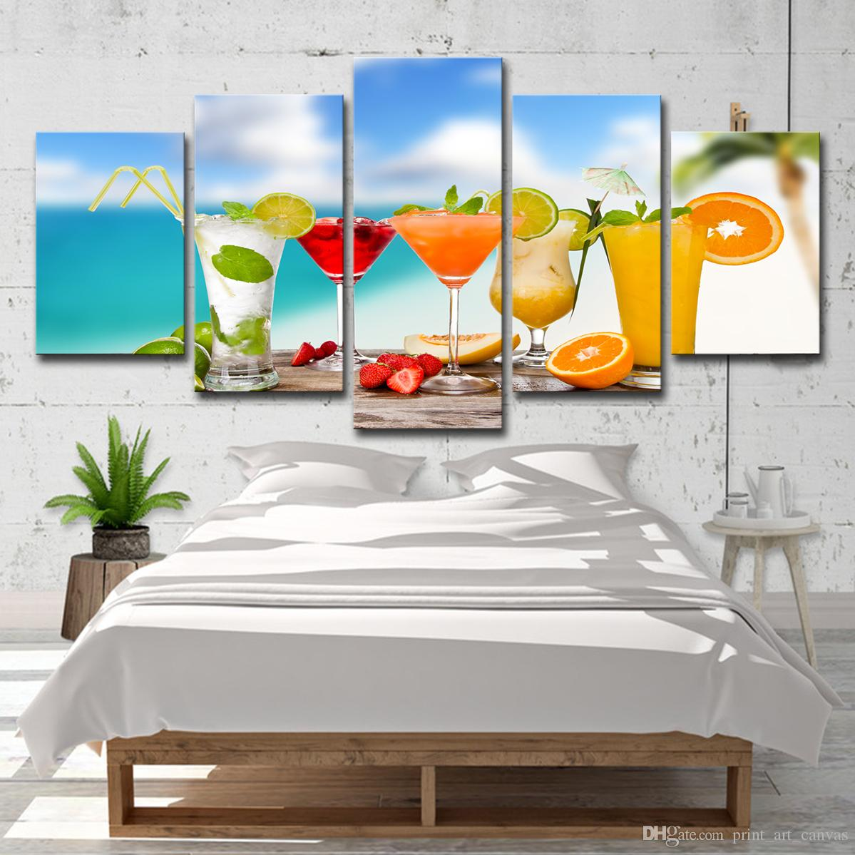 2019 Wall Art Canvas Hd Prints Painting Kitchen Restaurant Decor Fruit Drink Poster Beach Cocktails Cup Pictures From Printartcanvas 1641