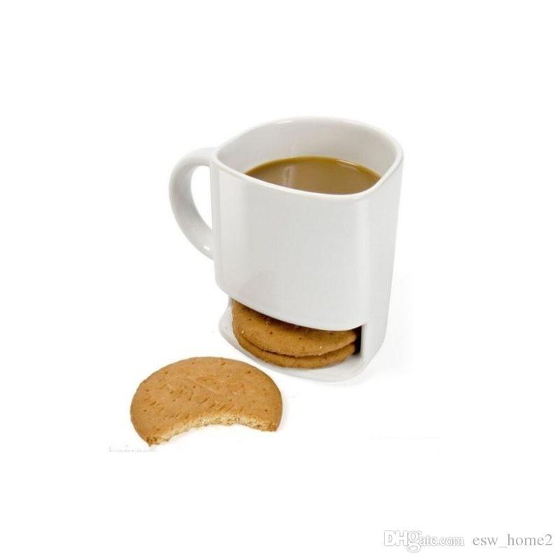 250 ml Seramik Kahve Fincanı Yan Çerez Bisküvi Cep Tutucu Süt Suyu Limon Drinkware Arkadaş Doğum Günü Hediyesi Için