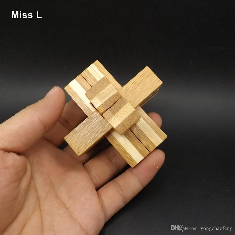 6 Pillar Design IQ Brain Teaser Kong Ming Lock 3D Puzzle Bamboo Game Educational Toys Interactive Game