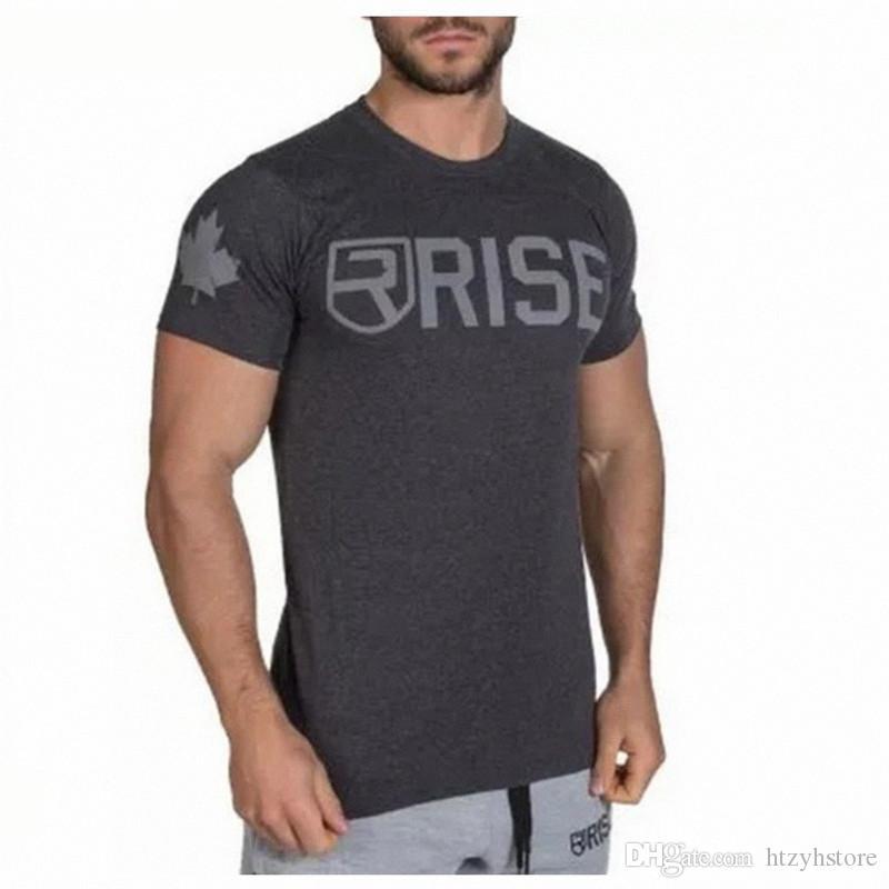 Mens Estate Palestre Fitness T-Shirt Crossfit Bodybuilding Slim Camicie O-Colletto maniche corte in cotone Tee Top Abbigliamento
