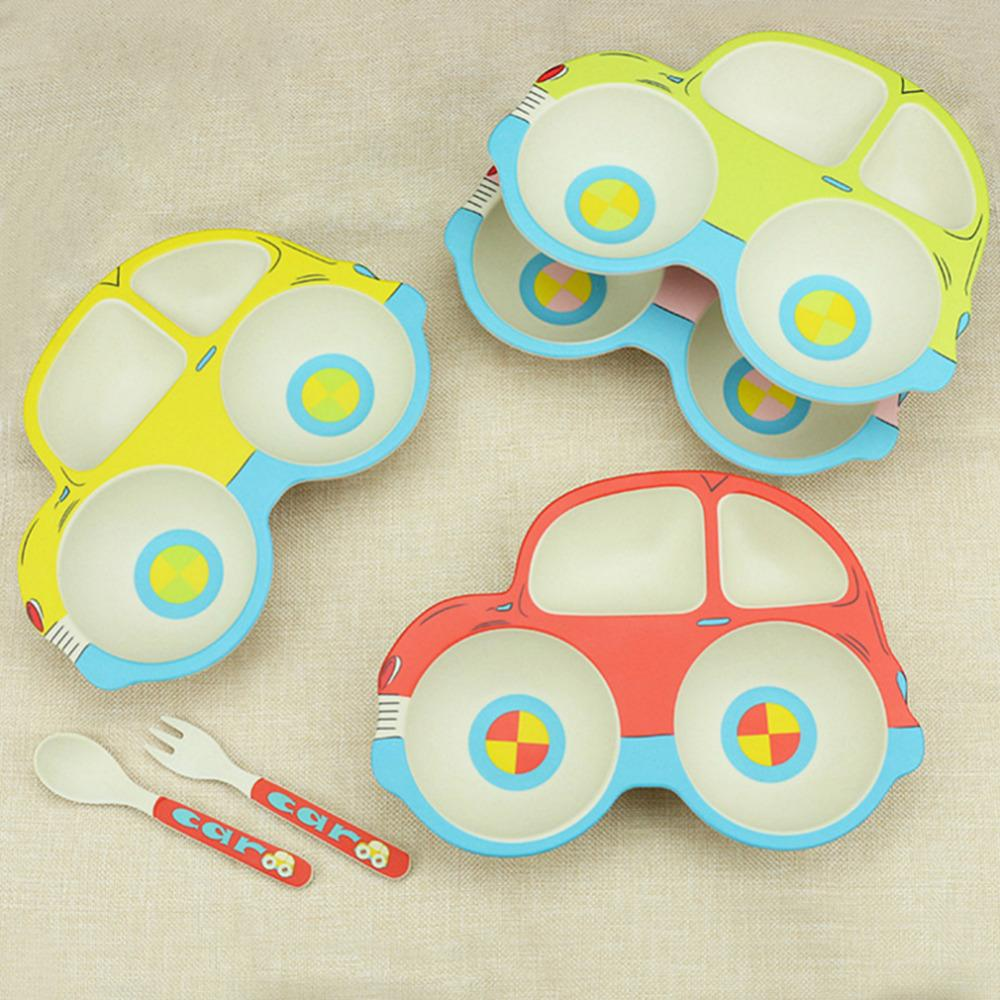 3 PCS Lovely Set de vajilla para niños Baby Kids Cartoon Car plato de placa con cuchara de tenedor Conjunto de vajilla de fibra de bambú