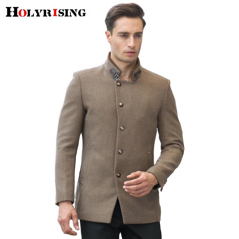 S-4XL Trendy Autumn Winter Men Wool Coats Busniess Stand Collar Jackets Warm Solid Camel Overcoats Male Thickening Outerwear