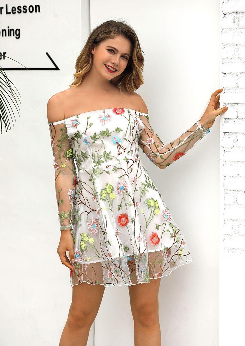 여자 Strapless 섹시한 꽃 자수 투명 레이스 드레스 여성 여름 백리스 캐주얼 저녁 파티 드레스 무료 배송