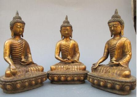 Tibete budismo templo antigo bronze três sakyamuni buddha estátua conjunto