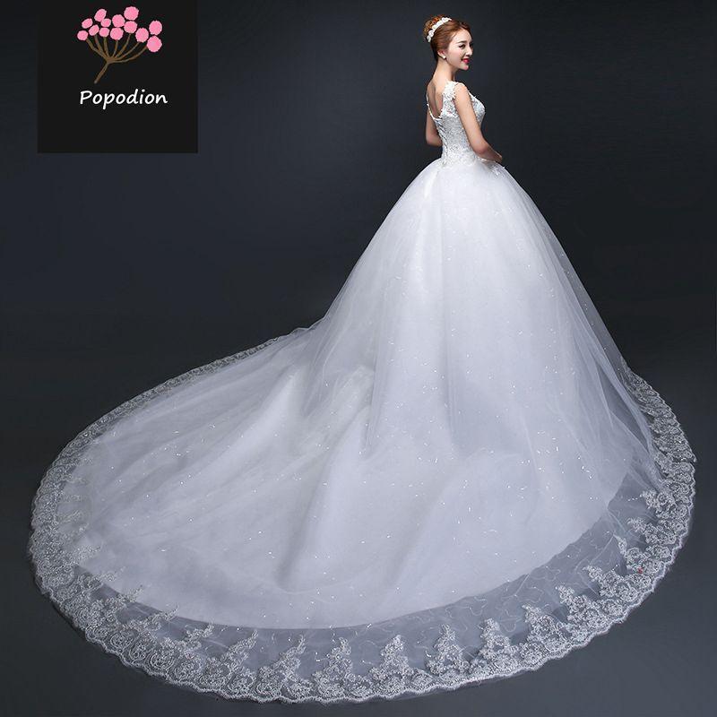 Popodion 120 cm tren vestido de novia de encaje más tamaño vestidos de novia simples para novia vestido de novia vestido de noiva WED90454
