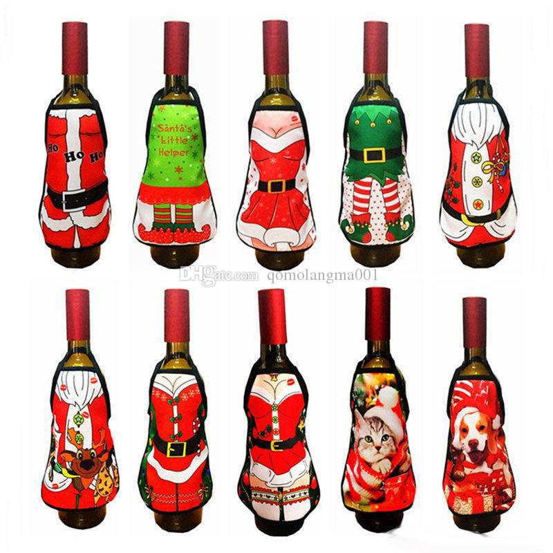 Mini Christmas Schürze Cartoon Weinflasche Cover Case Kleidung Weihnachtsschmuck Drop Ship