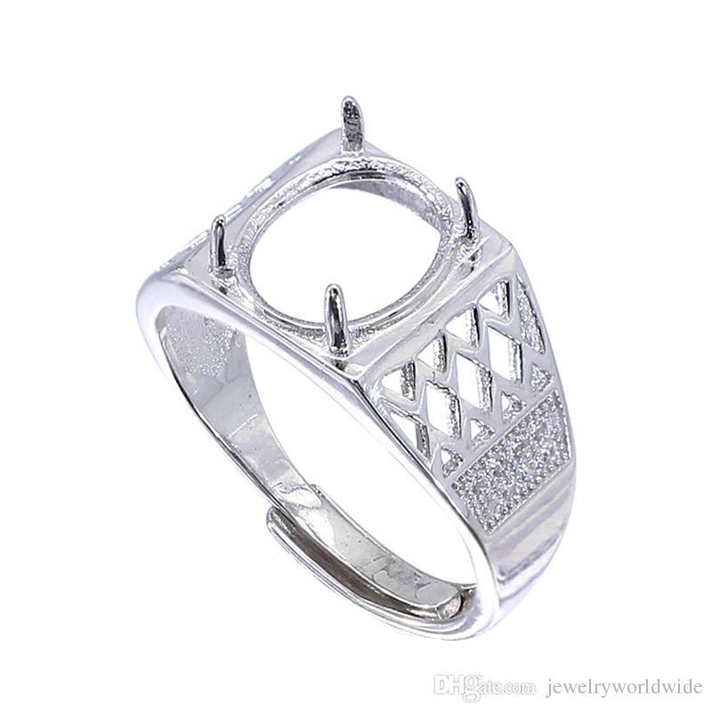إعدادات شبه جبل الطوق رائعة للحجر البيضاوي 9x11 ملليمتر الصلبة 925 فضة المرأة مجوهرات هدايا الزفاف