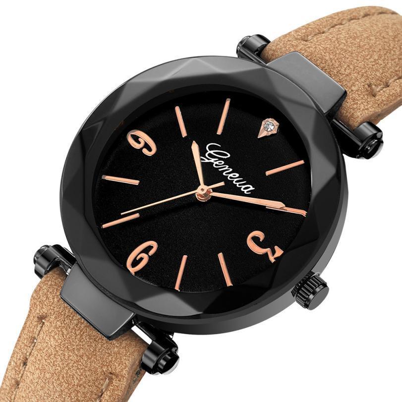 2018 Couro Dial New Steel Band relógio de pulso de quartzo Esporte pulso inoxidável Mulheres Relógios Relógio Masculino