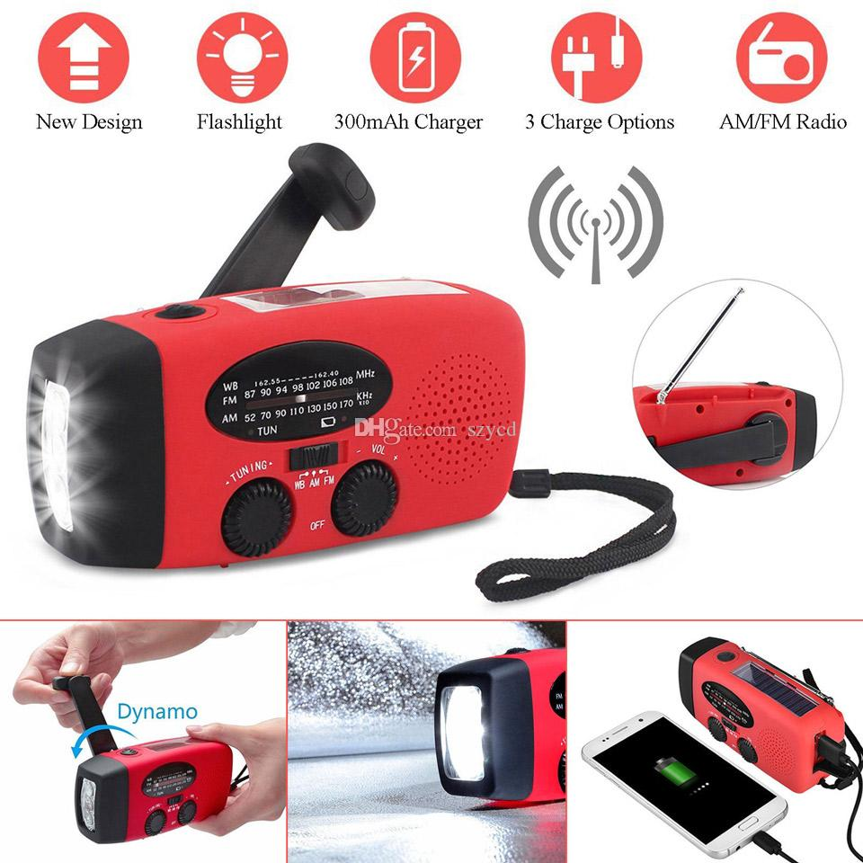 Mini AM//FM Solar Dynamo Powered Radio Hand Crank 3 LED Flashlight Phone Charger