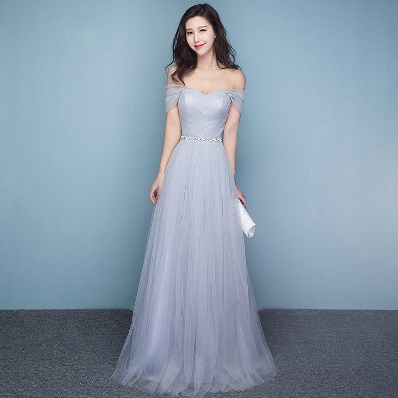 Compre Vestidos De Dama De Honor De Color Gris Plateado Fuera Del Piso Hasta El Suelo Vestidos De Fiesta De Bodas Vestido De Dama De Honor Con Marco