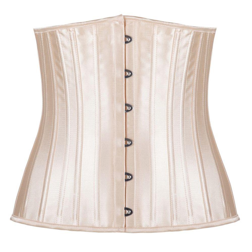 Woman Satin Lace Up Waist Cincher Corselet Body Shaper Sexy 24 Steel Bones Waist Control Underbust Corsets & Bustiers