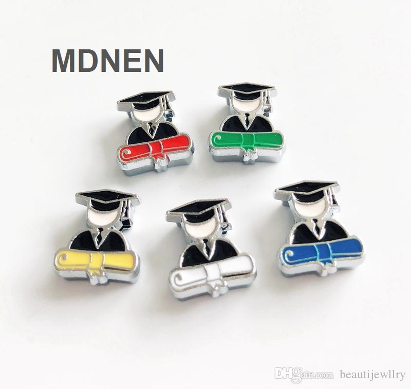 Accesorio 20pcs aleación de zinc de 8 mm de diámetro interno. 11 * 18 MM Doctoral suit Slide Charms Beads DIY 8 MM Collar del gato del perro pulsera