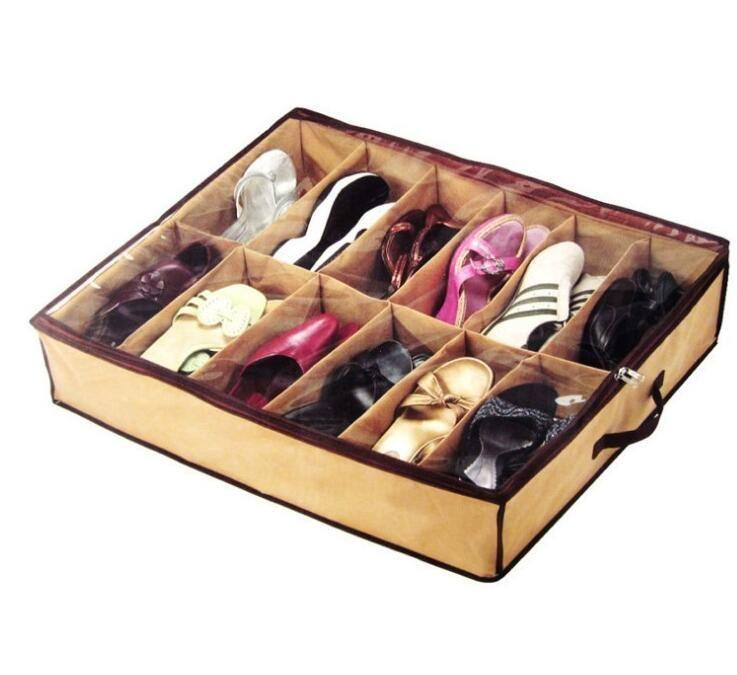 12 Çift Bezi Kumaş Ayakkabı Depolama Organizatör Tutucu Ayakkabı Organizatör Kutuları Dolap 67 * 56 * 15cm Can İşlevi Ana hottel kadınlar nt mens