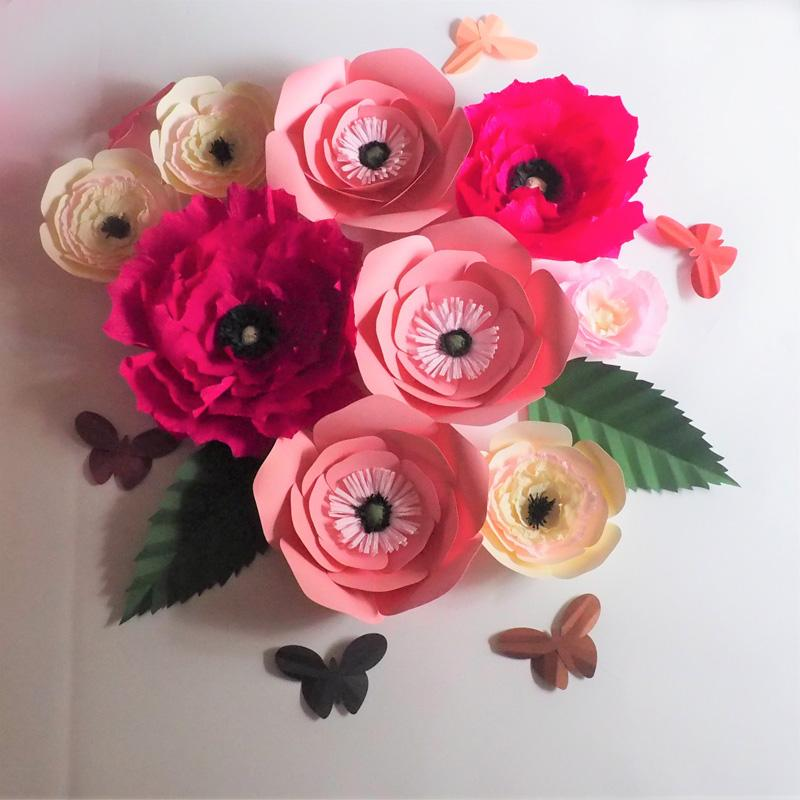 Benzersiz Dev Cardstock Krep Kağıt Çiçekler 9 ADET + Yaprakları 2 ADET + Kelebekler 6 ADET Düğün Olay Süslemeleri Bebek Kreş Süslemeleri Ev