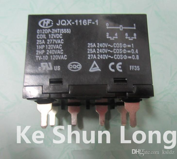 FreeShipping (2pieces / lote) OriginalNew JQX-116F-1 HF116F-1-012DP 2H 024DP-2H-HF116F 1-012DP-2H-HF116F 1-024DP-2H 6PINS 25A 12 24VDC PowerRelay