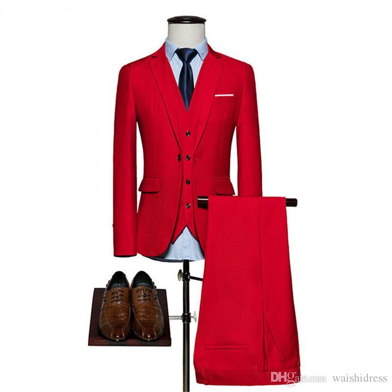 2018 waishidress moda vinho tinto 3 peças mens ternos ternos do noivo noivo / bestman smoking conjuntos casaco calça imagens de design (jaqueta + colete + calça)