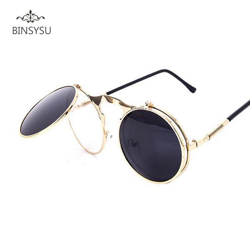 07378fc19d Fashion Steampunk Glasses Goggles Round Flip Up Vintage Steampunk Sunglasses  Round Sunglasses Women Brand Designer steam punk M