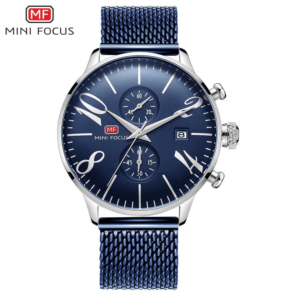 MINIFOCUS мужчины из нержавеющей стали сетки кварцевые часы хронограф мода мужчины часы Relogio Masculino Марка часы для мужчин Reloj Hombr