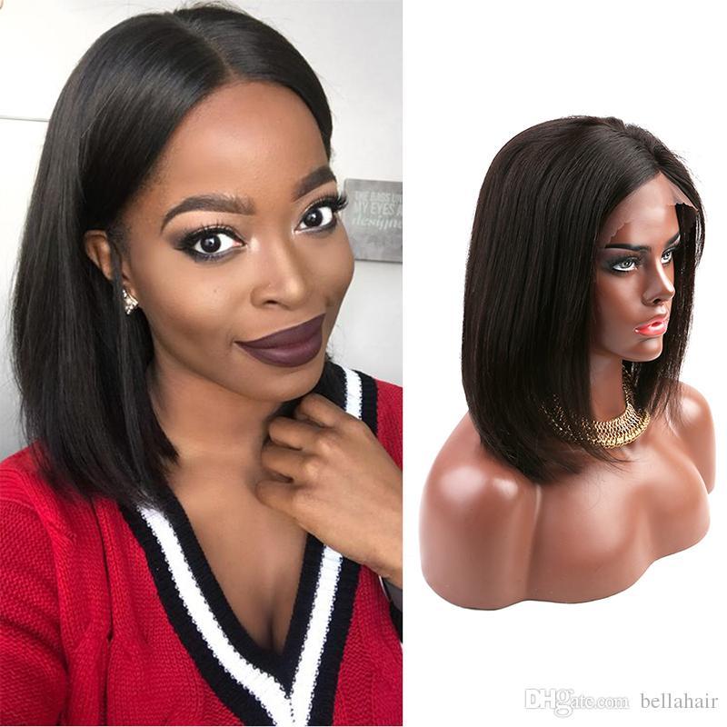 PIENA merletto anteriore parrucche per donne di colore 150% della densità del Virgin del brasiliano capelli umani tesse Bob diritto Media Cap Medio Parte Bob Bellahair