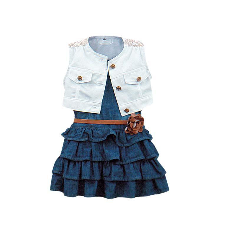 2pcs Baby Girl Dresses Jacket Suits belt kids Summer Denim vest Dress Children Girls Clothes Jeans Sets