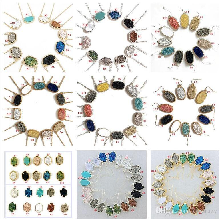 10 Styles Druzy Drusy Earrings Necklace Silver Gold Resin Stone Necklaces Can Message Mixed Colors AS U Like to Meet
