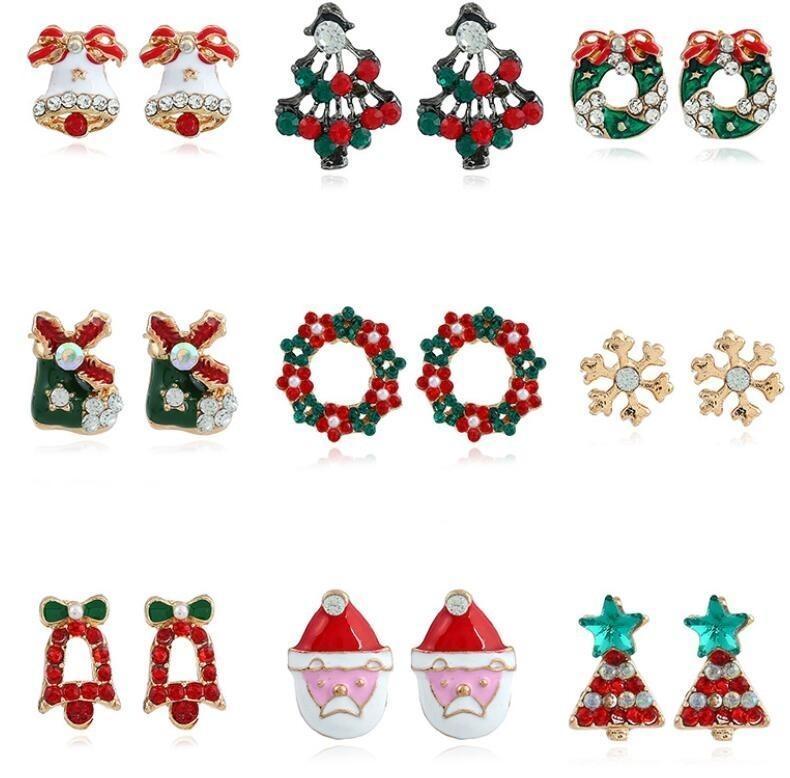 Fashion New Christmas Ear Nail Flocon de neige Round Stud pour fille Kid Bell Père Noël Ear Jacket Cuff Boucle d'oreille Festive cadeau bijoux