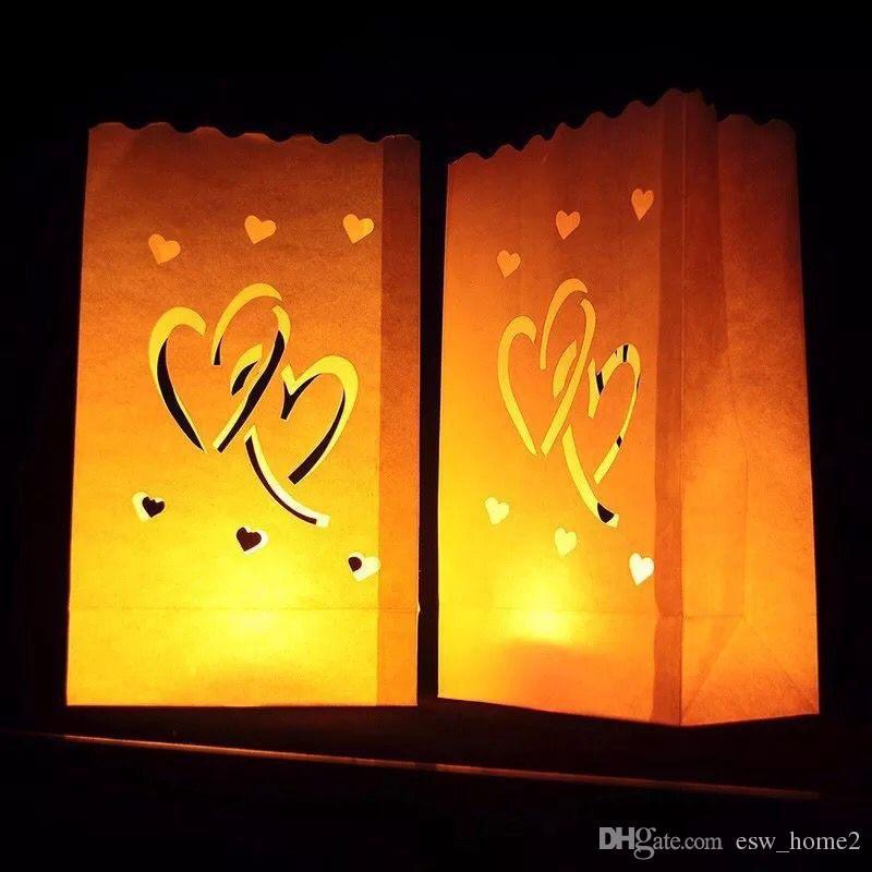 Festival Lantern Coeur Luminaria Papier Lanterne Bougie Sac Allumer Des Bougies Pour Le Mariage De Noël Fournitures De Fête D'événement