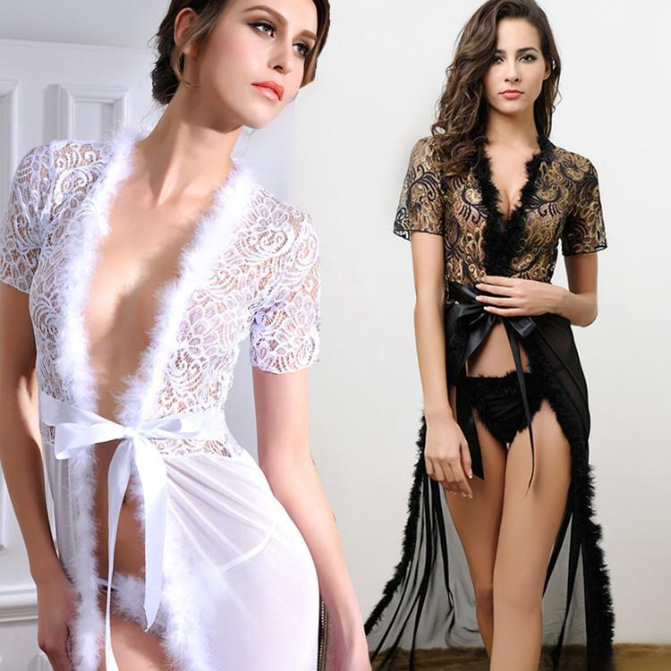 Women Kimono Sexy Lingerie Black White Long Erotic Dress Night Gown Nightie Sleepwear Lace Robe Sex Lingerie Bathrobe Nightgown S1011