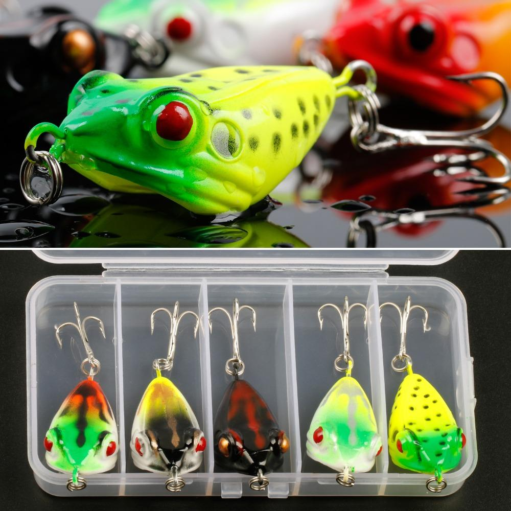 wholesale 5 Color Hard Fishing Frog Lures With Box Soft Fishing Lure Bass Lure Crank Bait Carp Fish Topwater Artificial Bait