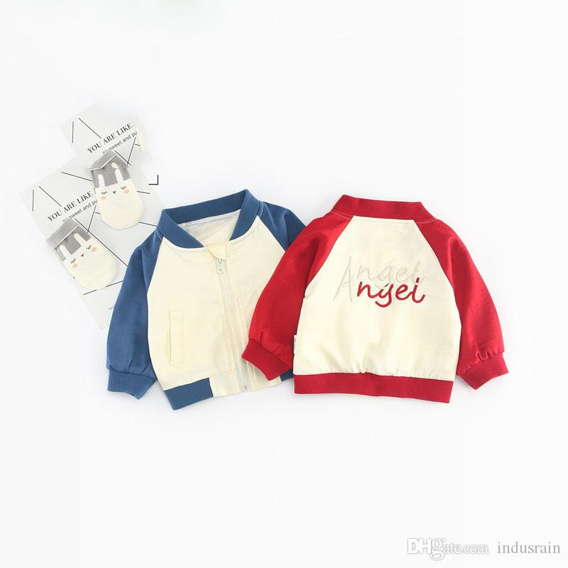 Autumn Baby Girls Cotton Long Sleeve O Neck Letter Baseball Jacket Coat Kids Boys Casual Outerwear Coat roupas de bebe