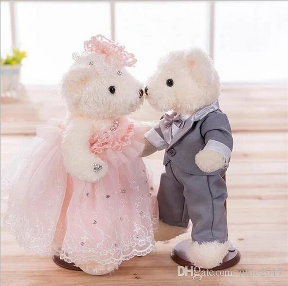 1 pairs/Lot Lovely Wedding Dress Teddy Bear Valentine's Day gift Wedding Gift Plush Toy Small Doll