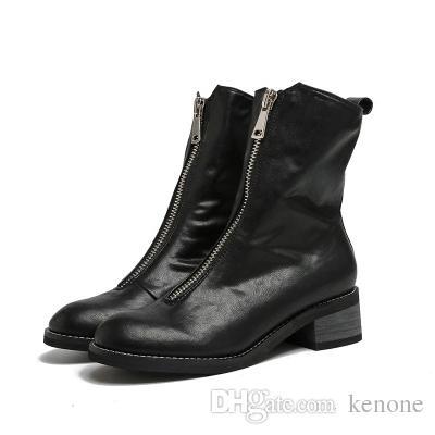 2018. зимней моды сапоги кожаные сапоги Рыцарь для дамы среднего пятки середины икр ботинки с молнией