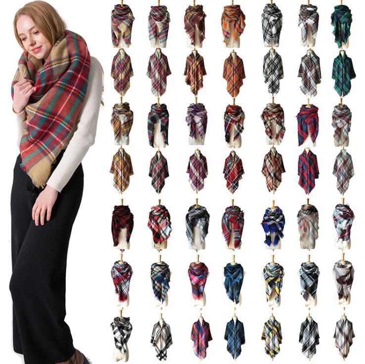 Écharpe écossaise Pashmina 140 * 140cm écharpe surdimensionnée en tartan 28 styles enveloppant châle écharpe carrée à pompons couverture chaude