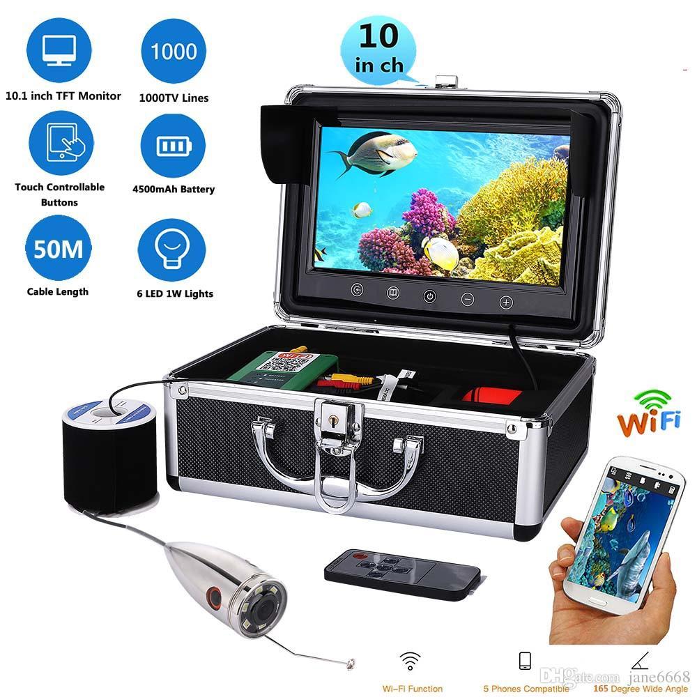 50m Kabel WIFI Wireless Fish Finder mit 720P 1000TVL Unterwasserfischen Videokamera 10 Zoll Farbmonitor Free Mob APP Viewing