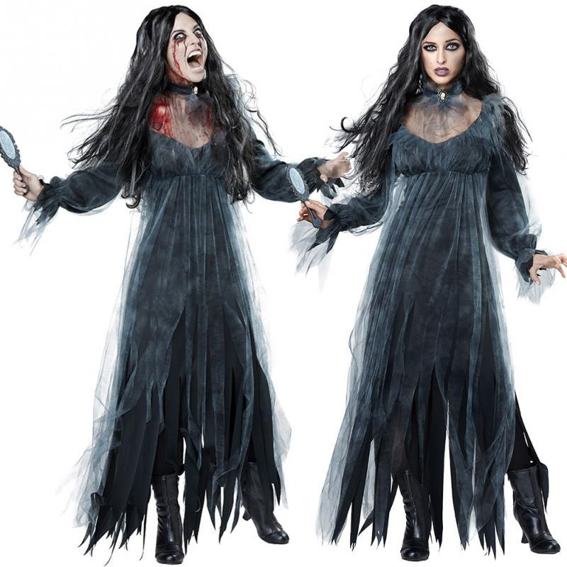 Women Scary Zombie Style Cosplay Clothing Black Irregular Long Sleeve Long Halloween Ladies Cosplay Dress New Groups Of 5 Costumes Best Team Costumes