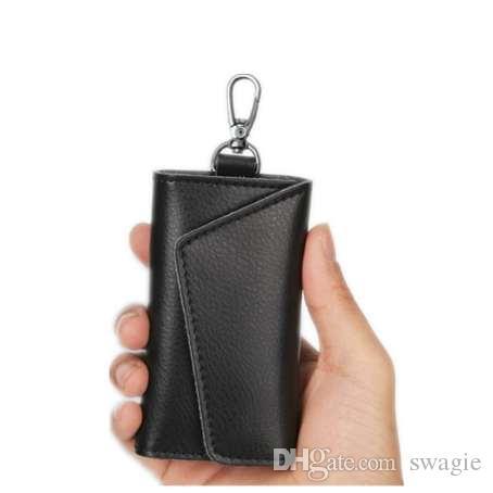 Porta biglietti da visita portachiavi in pelle di vacchetta vera pelle affari organizzatore portamonete portachiavi borse da uomo donna tasca auto chiavi borsa