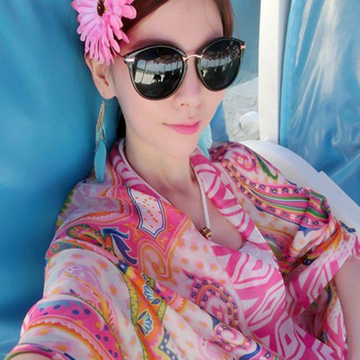 Summer Women Vintage Print Striped Beach Wear Top Top Bikini Cover up Protezione solare multiuso Bikini Top Wrap