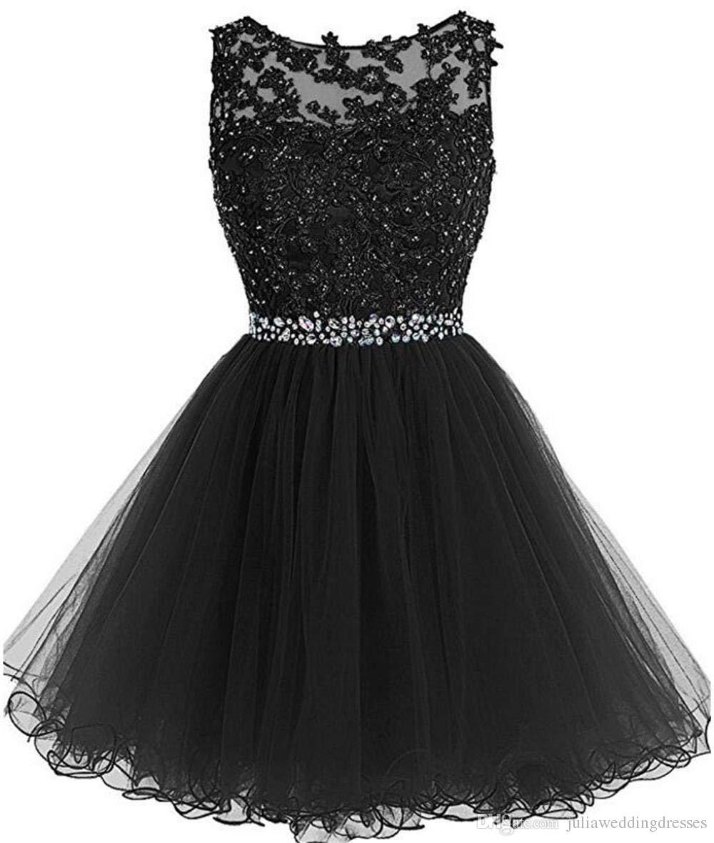 Compre 2019 Nuevos Cortos Vestidos De Fiesta Apliques De Encaje Con Cuentas De Cristal Puffy Tulle Vestidos De Fiesta De Cóctel Negro Vestidos De