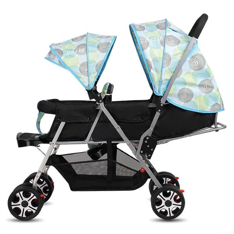 TwinsBaby Wheelbarrow Baby Cart Poussette bébé pliable légère Les sièges avant et arrière peuvent être inclinés Chariot double buggy